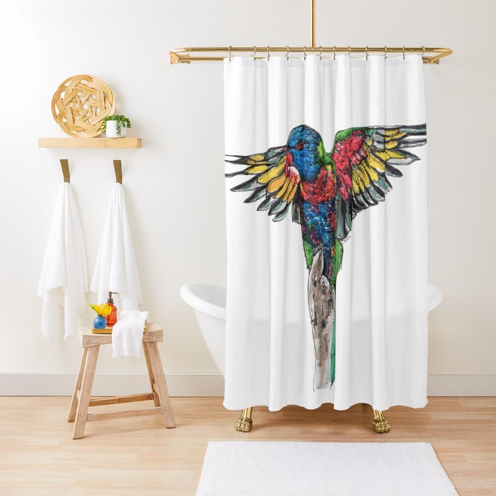 Delilah the Rainbow Lorikeet Shower Curtain