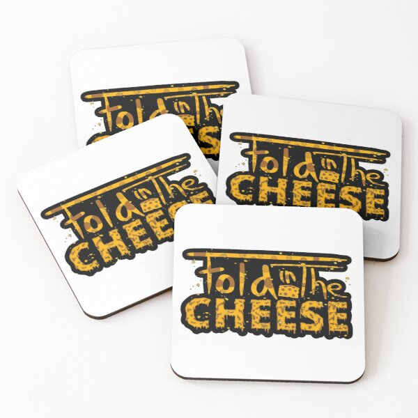 Fold In The Cheese Funny Typography Coasters (Set of 4)