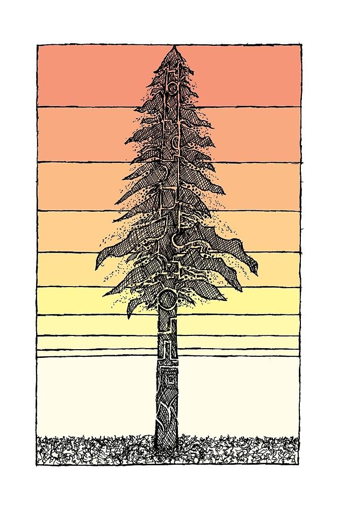 Coastal Redwood Sunset Sketch by Hinterlund