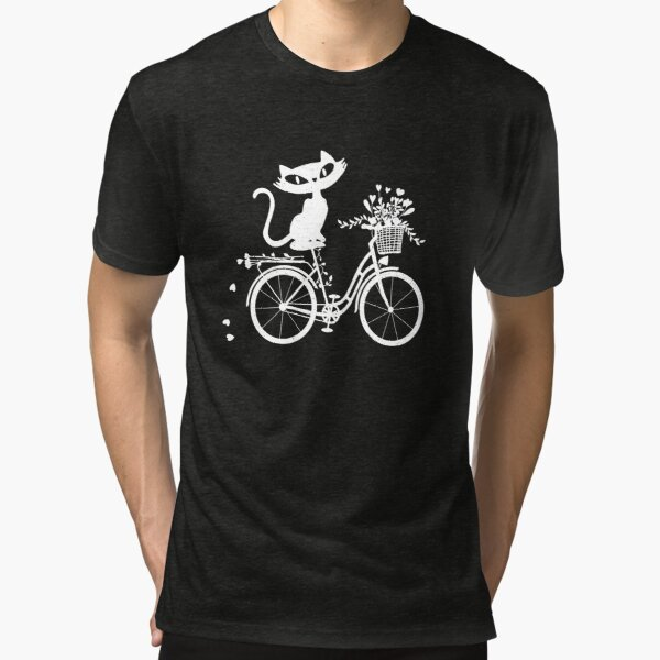 Katze auf Retro Fahrrad mit Blumenkorb Vintage T-Shirt
