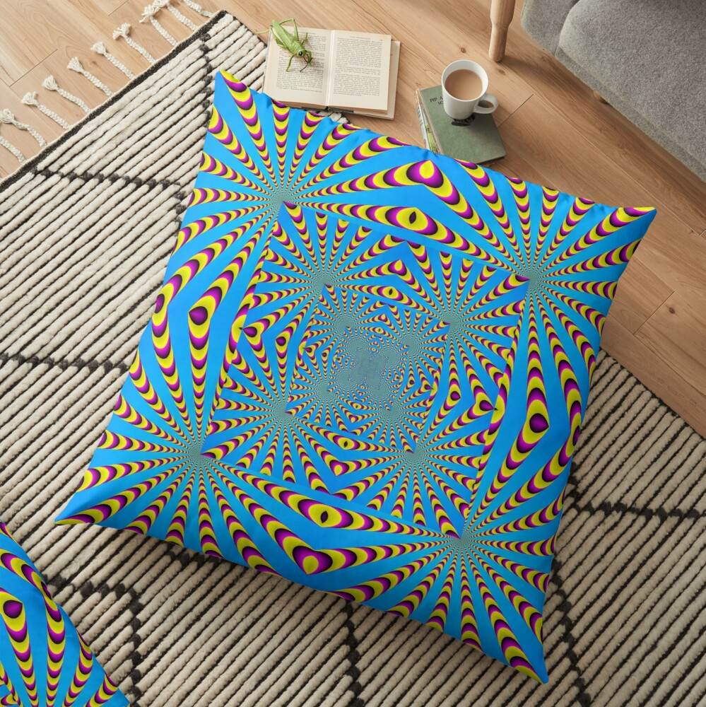 Blue optical illusions colour Floor Pillow