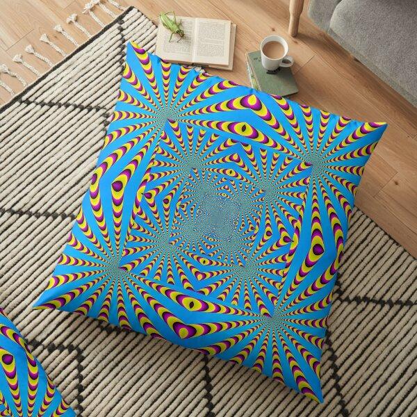 Blue optical illusions colour Floor Pillow