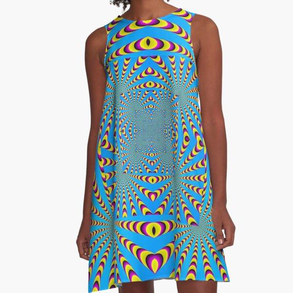 Blue optical illusions colour A-Line Dress