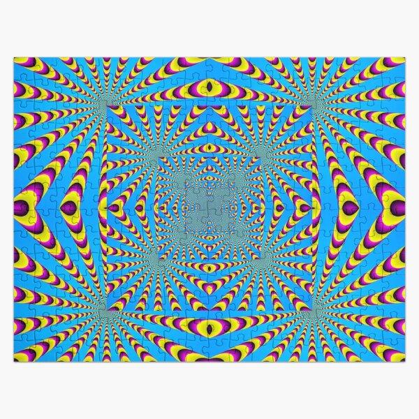Blue optical illusions colour Jigsaw Puzzle