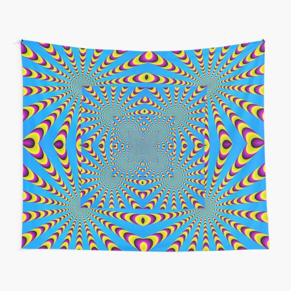 Blue optical illusions colour Tapestry