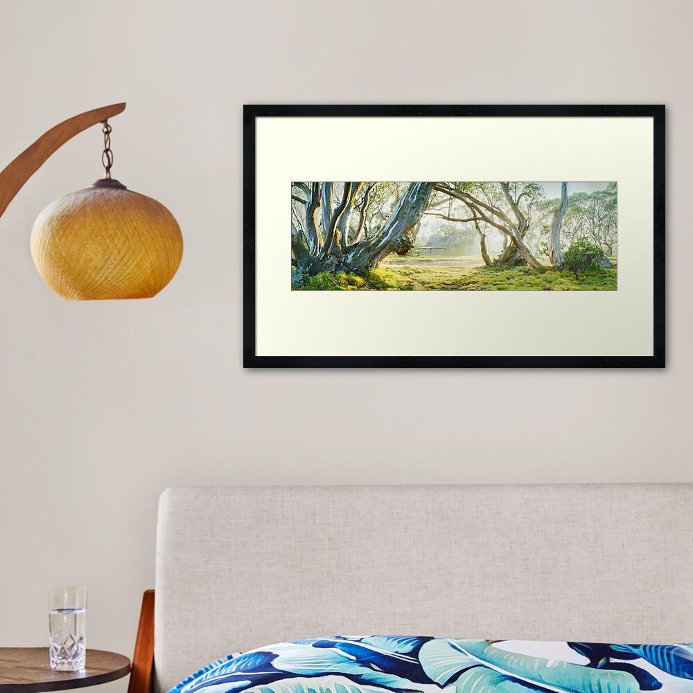 Foggy Wallace Hut, Falls Creek, Victoria, Australia Framed Art Print