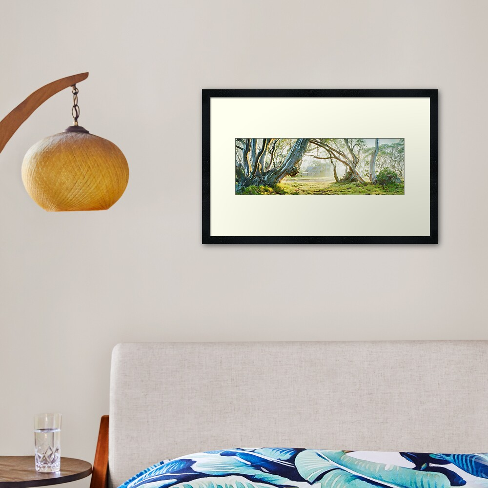 Foggy Wallace Hut, Falls Creek, Victoria, Australia Framed Art Print