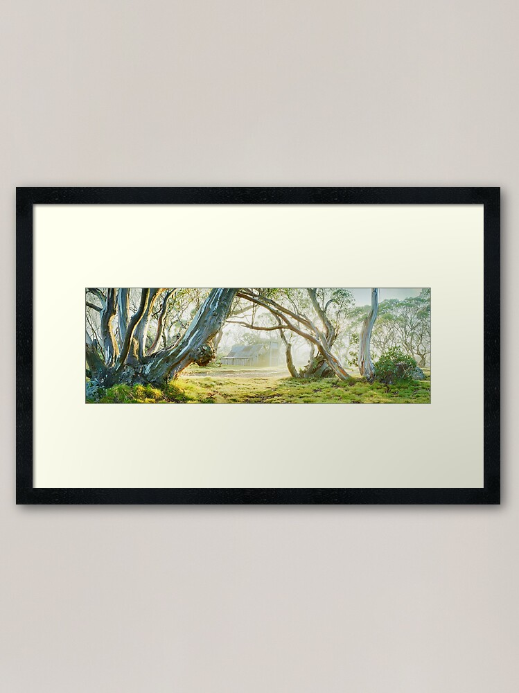 Alternate view of Foggy Wallace Hut, Falls Creek, Victoria, Australia Framed Art Print