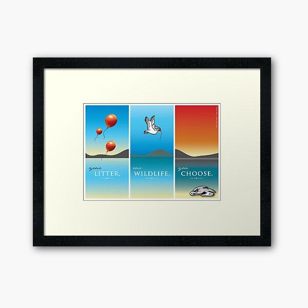 Pelican balloon graphic Framed Art Print