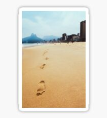 Footprints in Sand on Ipanema Beach in Rio de Janeiro Brazil Sticker