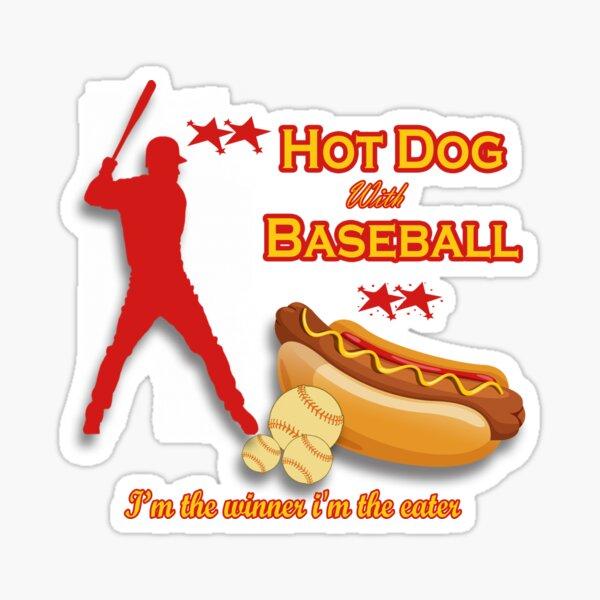 Hot dog with Baseball Sticker