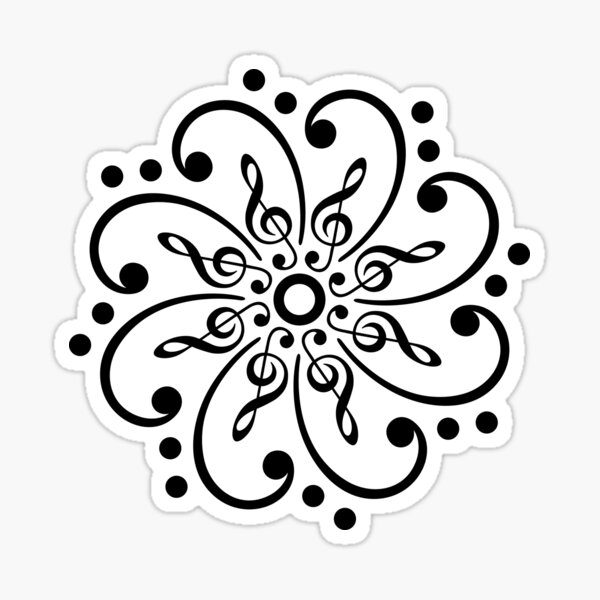 Bass Clef, Treble Clef, Mandala, Music, Musician, Classic, Dance Sticker