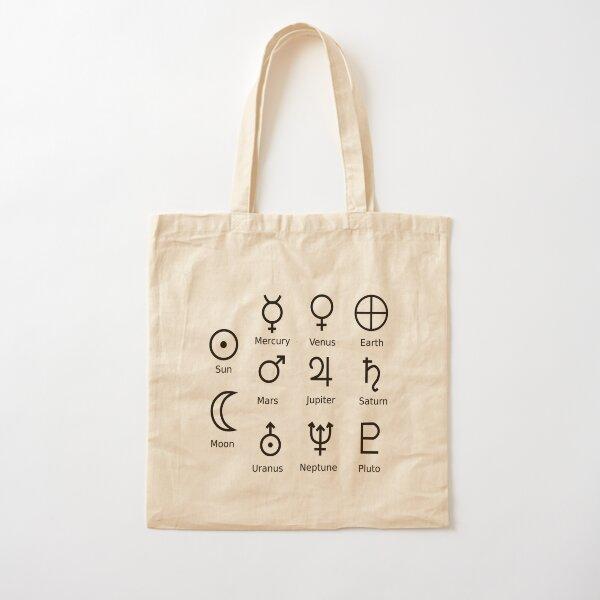Astronomical Symbols: #Sun, #Mercury, #Venus, #Earth, Mars, Jupiter, Saturn, Uranus, Neptune, Pluto Cotton Tote Bag