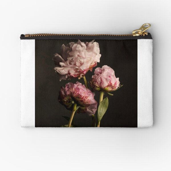 Three Pink Peonies Zipper Pouch