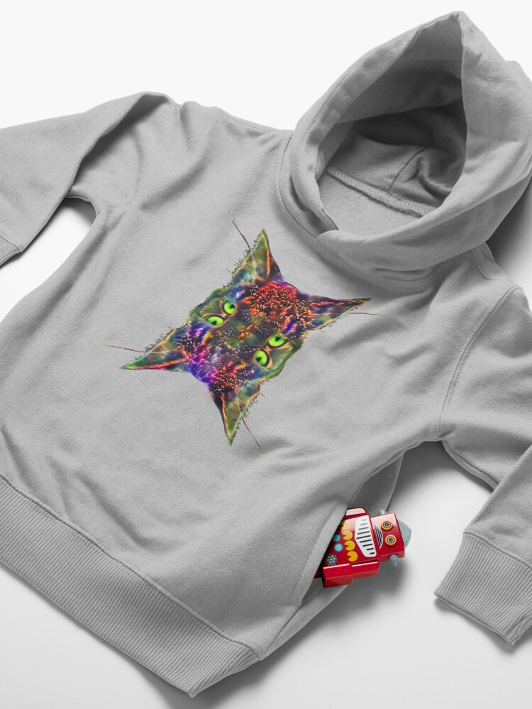 Alternate view of Artificial neural style Space galaxy mirror cat Toddler Pullover Hoodie