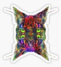 Artificial neural style Space galaxy mirror cat Sticker
