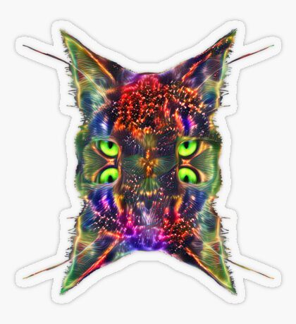 Artificial neural style Space galaxy mirror cat Transparent Sticker