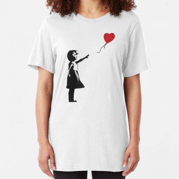 Banksy - Chica con globo Camiseta ajustada