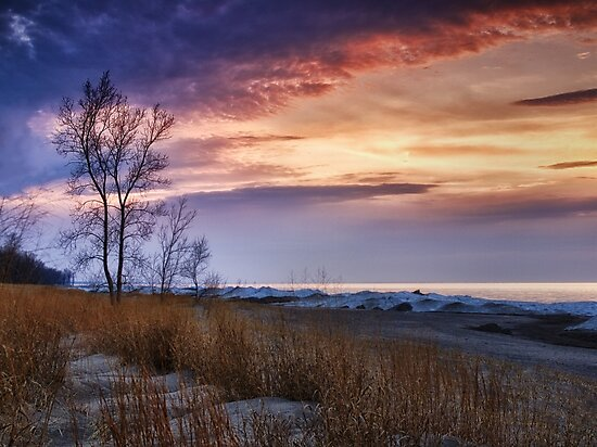 Beach At Sunset - Erie, PA by Kathy Weaver