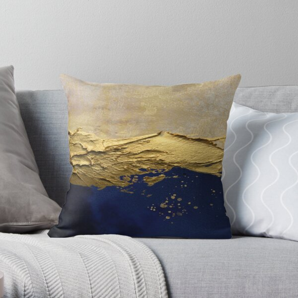 blue abstract scene with gold paint effect. Throw Pillow