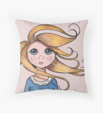 Big-Eyed Girl on Windy Day #2, Whimsical Art Throw Pillow