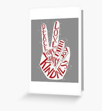 Peace hand sign - Love, Faith, Joy, Hope, Kindness, Unity lettering design Greeting Card