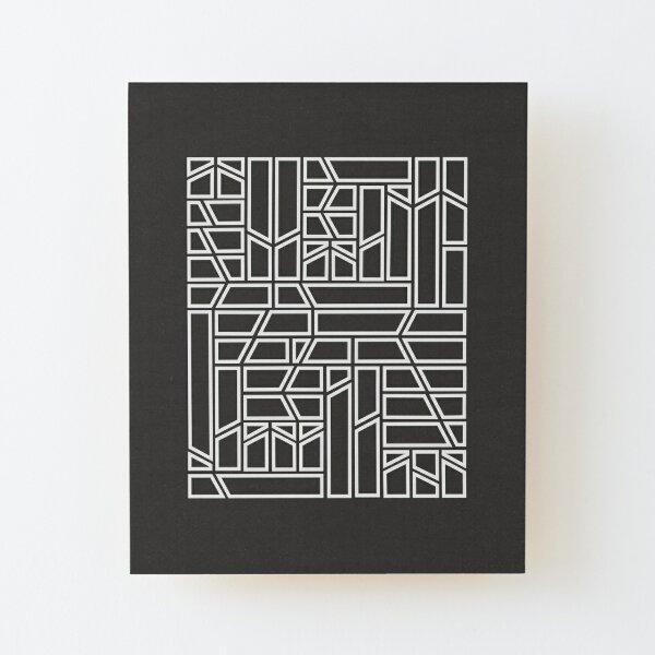 White Rectangular Pattern On A Black Background Wood Mounted Print