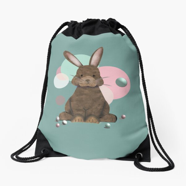 Adorable Watercolor Rabbit Playing with Marbles - Cute Drawstring Bag