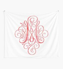 Monogram M Watercolor Typography Wall Tapestry
