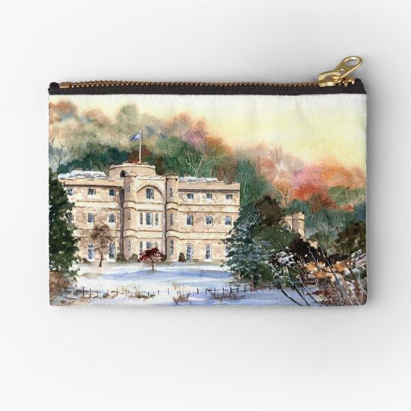 Willersley Castle, Derbyshire - Snowy landscape painting Zipper Pouch