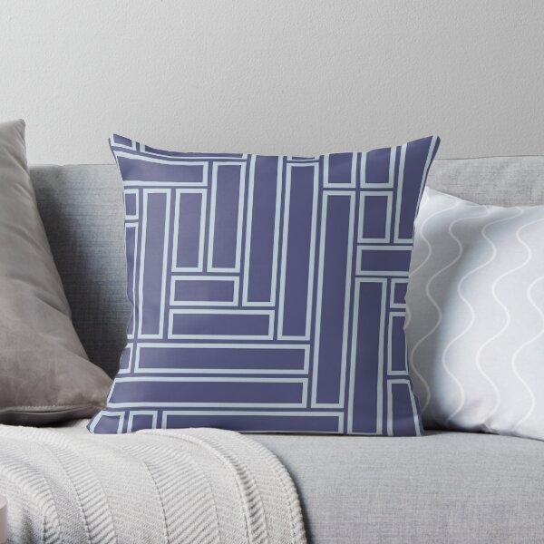 White Rectangular Pattern On A Blue Background Throw Pillow