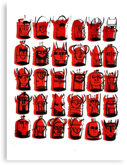 Wee Helmeted Red Folk by LotteFisher