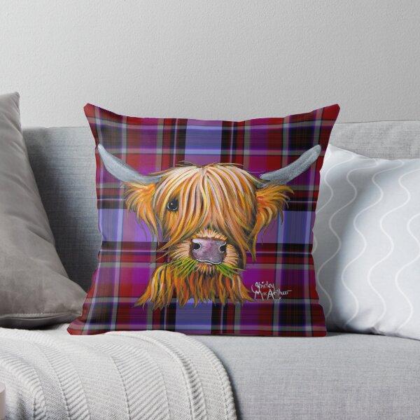 SCoTTiSH HiGHLaND CoW ' TaRTaN LiTTLe ViKiNG P ' by SHiRLeY MacARTHuR Throw Pillow
