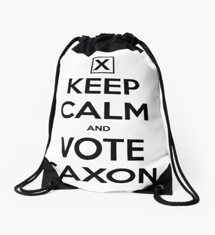 Vote Saxon - White Drawstring Bag