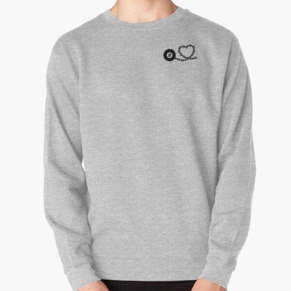 Heart shaped billiard ball on chain Pullover Sweatshirt