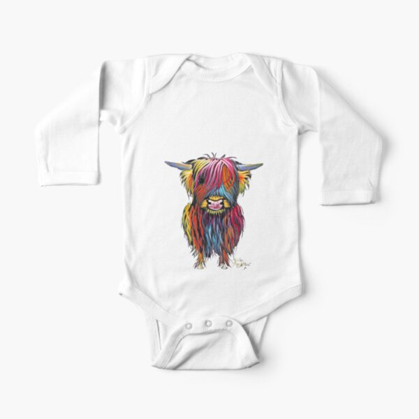 Scottish Hairy Highland Cow ' BRAVEHEART ' by Shirley MacArthur Long Sleeve Baby One-Piece