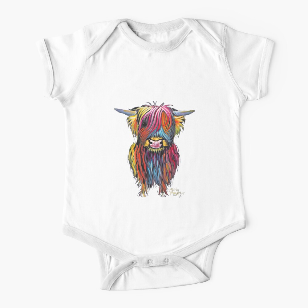 Scottish Hairy Highland Cow ' BRAVEHEART ' by Shirley MacArthur Baby One-Piece