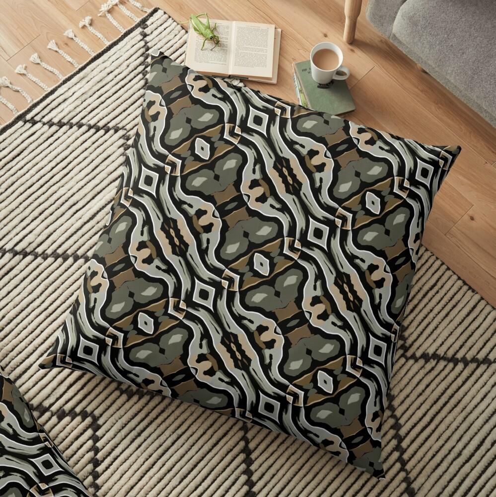 Modern Abstract Grey Black Wave Pattern Design 1777 Floor Pillow