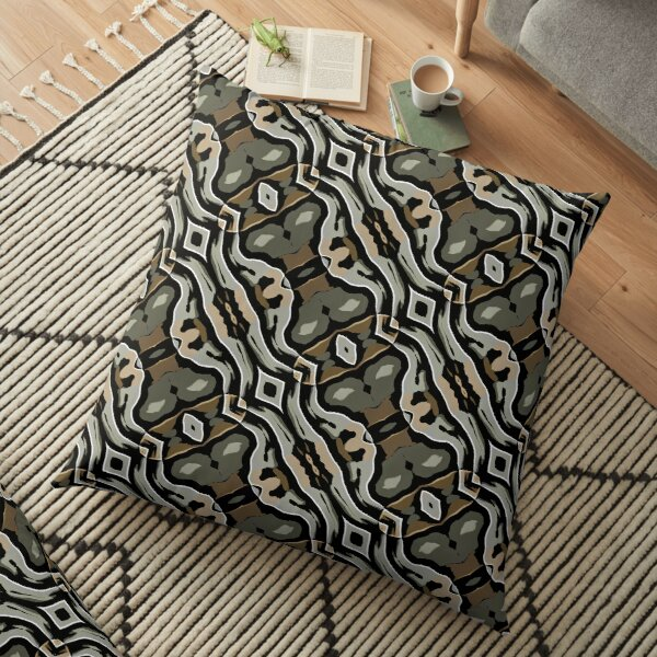 Modern Abstract Grey Black Wave Pattern Design 1777 Floor Pillow