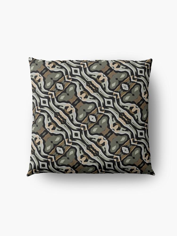 Alternate view of Modern Abstract Grey Black Wave Pattern Design 1777 Floor Pillow