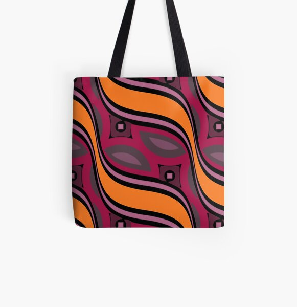 Modern Abstract Red Orange Grey Black Wave Pattern Design 1778 All Over Print Tote Bag