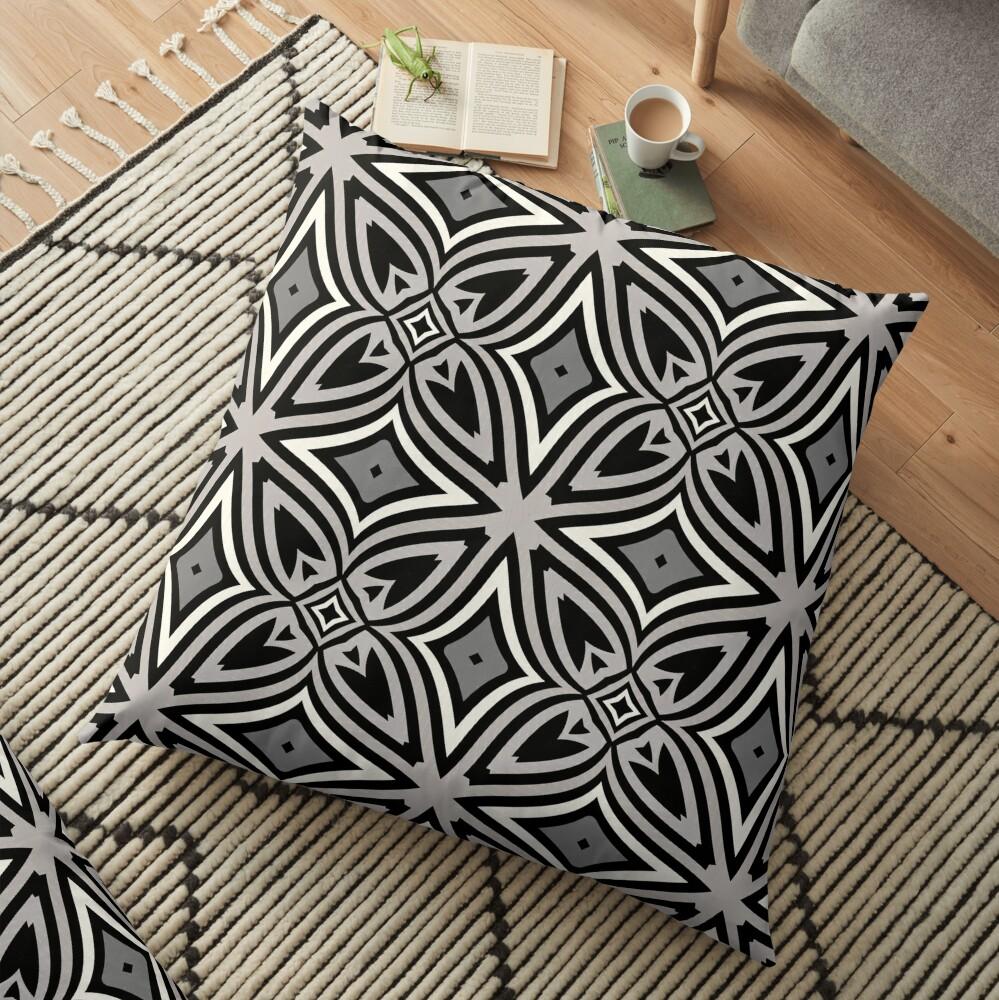 Modern Geometric Abstract Grey Black Pattern Design 1779 Floor Pillow