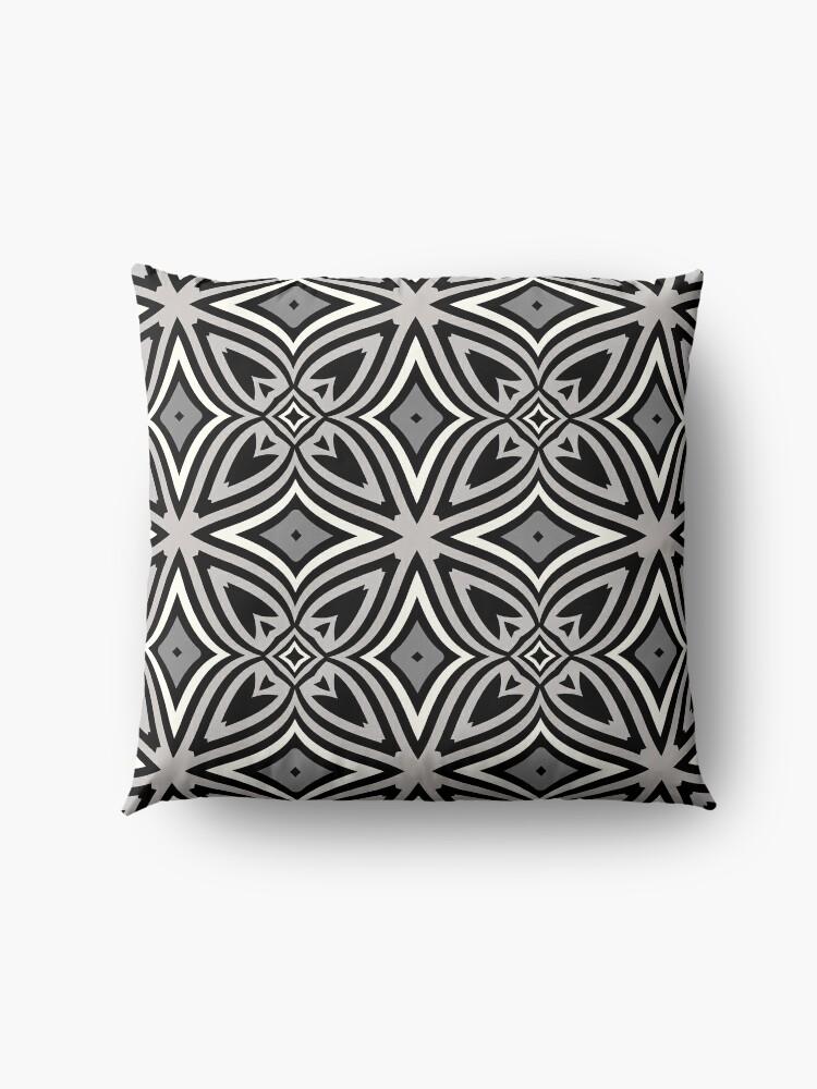 Alternate view of Modern Geometric Abstract Grey Black Pattern Design 1779 Floor Pillow