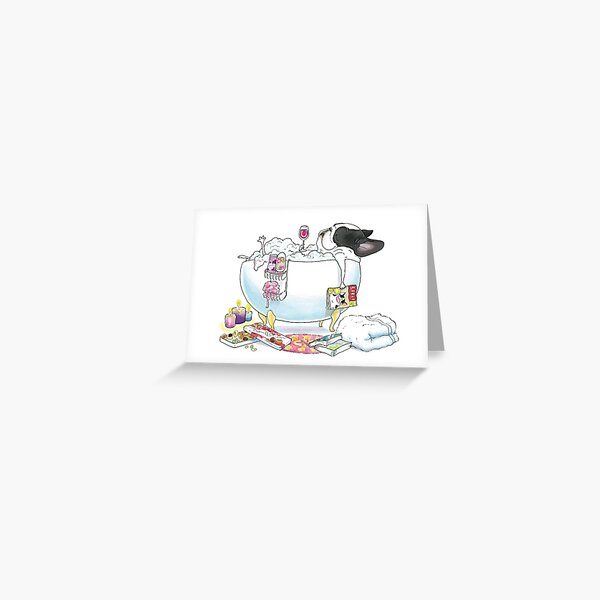 Frenchie in the Tub - black & white pied Greeting Card