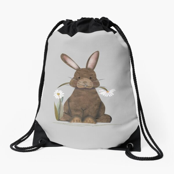 Adorable Watercolor Rabbit says I love you - cute Drawstring Bag