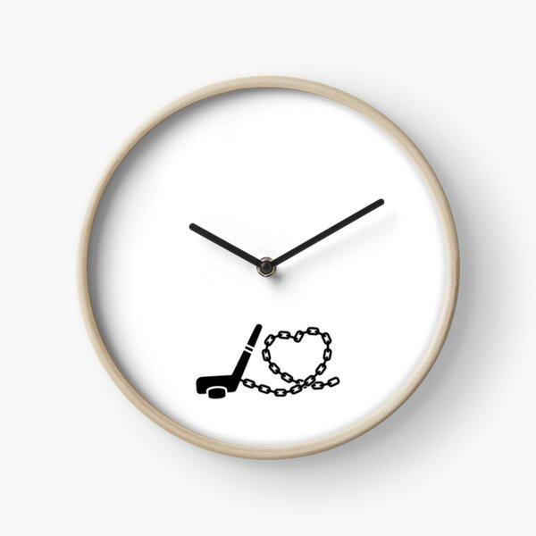 Ice hockey stick on chain in heart shape Clock