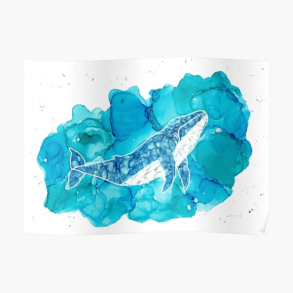 """Alkohol Ink Art """"Whale in the Ocean"""" Poster"""