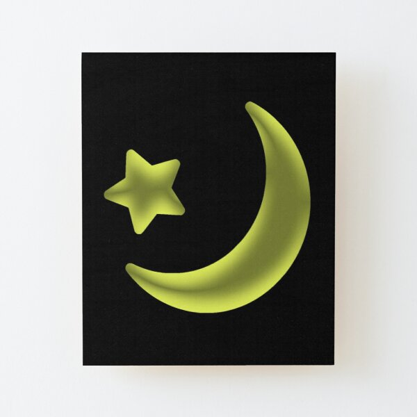 moon and star Wood Mounted Print