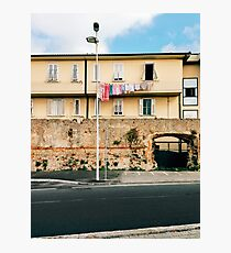 Yellow Residential Building in Italy With Drying Laundry on Washing Line Photographic Print