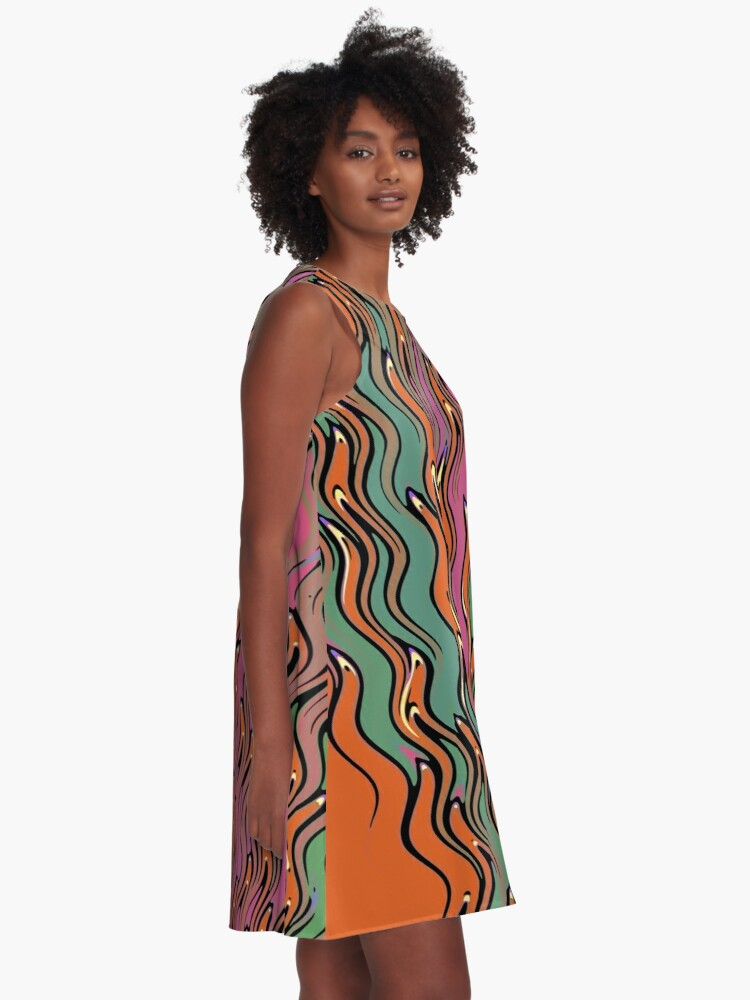 Alternate view of Modern Abstract Red Orange Green Wave Pattern Design 1395 A-Line Dress